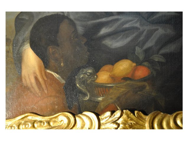 Detail of a Black Servant that features in the portrait of Robert Greville. Warwick Castle.