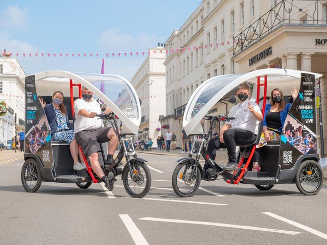 Two rickshaws will be offering shoppers free, environmentally-friendly rides from July 8-12.