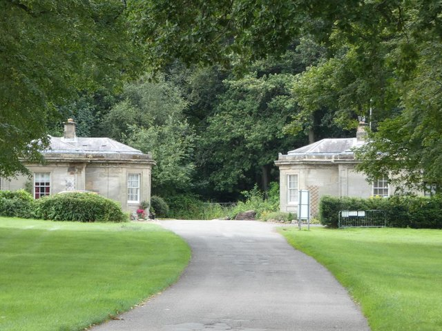 The Grecian Lodges guarding the west entrance to the estate